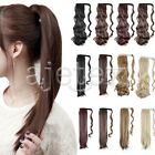 Clip In Ponytail Hair Extension Wrap On Wig Hairpiece Long Wavy Curly Straight