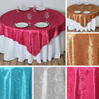 "10 pcs EMBROIDERED TAFFETA 72x72"" TABLE OVERLAYS Wedding Party Reception Linens"