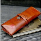 New Vintage Style PU Leather Pencil Pen Case Cosmetic Makeup Bag Storage Pouch