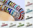 100pcs Shiny Silver Plated Crystal Rhinestone Paved Metal Spacer Beads 8mm