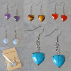 Amethyst/Tigereye/Red Agate/Opal/Turquoise Heart Earrings Jewelry T151-T155