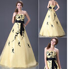 New Stock Yellow Wedding Dress Bridal Gown Bridesmaid Dress size:6 8 10 12 14 16