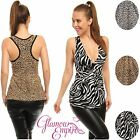 Glamour Empire Women's Animal Print Summer Jersey V Neck Pleated Vest Top 255