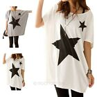 Women's Fashion Loose Star Print Bat Short Sleeve T-shirt Tops Blouse 2 Colors