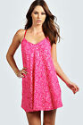 Boohoo Womens Ladies Lucy Hip Length Sleeveless Strappy Neon Sequin Swing Dress