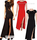 Sexy Women Lace Slim Split Bodycon Maxi Gown Formal Evening Party Long Dress