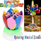 3pcs Birthday Musical Candles Rotating Lotus Flower Candles Decor Party Supply