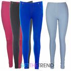 LADIES WOMENS MID WAISTED COTTON STRETCH DENIM JEGGINGS WITH POCKETS SIZES 8-14