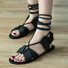 NEW  WOMEN GLADIATOR PU LEATHER SANDALS LACE UP FLAT STRAPPY SUMMER BEACH SHOES