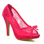 NEW Ladies Womens Bright Pink Floral Lace Bow Mid High Heels Peep Toe Shoes Size