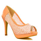 NEW Womens Pink Floral Lace Platform High Heel Rhinestone Peep Toe Shoes Size