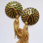 BURLESQUE Sequin Nipple Tassels Covers Pasties - Holo Gold & Black / Gold