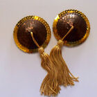 BURLESQUE Sequin Nipple Tassels Covers Pasties - Chocolate-Gold / Gold