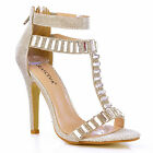 NEW Womens Silver T-Bar Ankle Strap High Heel Stiletto Evening Sandal Shoes Size