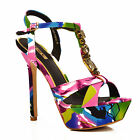 NEW Womens Multicolour Purple Ankle Strap Platform Stiletto Sandals Shoes Size