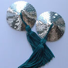 BURLESQUE Sequin Nipple Tassels Covers Pasties - Silver / Teal