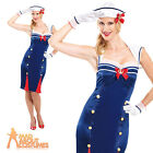 Sailor Pin Up Girl Costume Navy Fancy Dress Uniform Ladies Womens Outfit UK 8-16