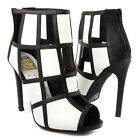 Black White Open Toe Ankle Bootie Checkered Tile Cut Out Stiletto High Heel Pump