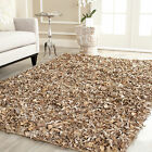 Safavieh Hand-Knotted Dark Beige Leather Shag Area Rug - LSG421C