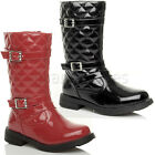 GIRLS CHILDRENS KIDS CALF ZIP QUILTED BUCKLE DIAMANTE RIDING BOOTS SIZE