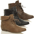 WOMENS LADIES LOW HEEL FLAT LACE UP FOLD OVER CUFF ANKLE PIXIE BOOTS SIZE