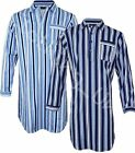 Mens Night Shirt Traditional Striped Nightshirt  Brushed Flannel Warm
