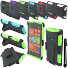 For Nokia Lumia 520 Holster HYBRID KICKSTAND Silicone HARD Case Cover + Pen