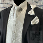 WHITE XS -6XL Paisley Tuxedo Dress Vest Waistcoat & Neck tie