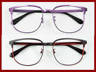 Vintage Large shape Men Women Metal optical lens-able Eyeglass frame black/purpl