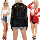 New Womens Ladies Floral Print Lace Open Long Sleeve Kimono Cardigan Size S M L