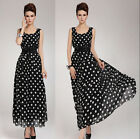 BD Lady Long  Maxi Chiffon Polka  Dot Cocktail  Party Evening Dress + Belt USSL