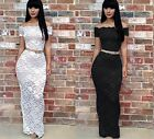Sexy Women Sleeve Off shoulder Lace Club Evening Cocktail Party Long Maxi Dress