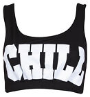 Womens New Chill Printed Ladies Sleeveless Stretch Elasticated Crop Bra Vest Top