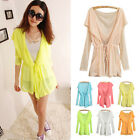Girls Womens Summer Hooded Batwing Cardigan Tunic UV Against Casual Blouses Tops