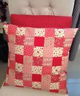 Handmade Cotton Red Patchwork and Spotty Cushion Cover Shabby Chic Vintage