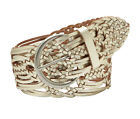 FOSSIL Brand Wide Woven Leather Belt in Silver