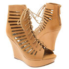 Tan Open Toe Lace Up Cut Out Ankle Bootie Cage Platform Wedge High Heel Pump US