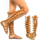 Tan Open Toe Cage Strappy Gladiator Over The Knee Thigh High Flat Sandal US 5-11