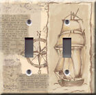 Light Switch Plate Cover - Map vintage - Sailing boat treasure treasury pirate