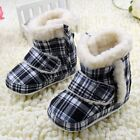 Baby boots girls Plaid Snow winter Soft bottom Shoes Suit for 3-6 6-9 9-12Months