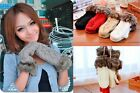 New Winter Women's Fur Warm Hot Thermal Knitted Mittens Full Finger Gloves