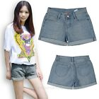 Ladies Womens Faded Blue Denim Turn Up Jeans Style Casual Holiday Shorts Pants