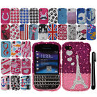 For BlackBerry Q10 Design DIAMOND BLING CRYSTAL HARD Case Phone Cover + Pen
