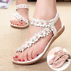 Womens Ladies Flat Open Toe Summer Beach Flower Sandals Elastic  Strappy Size