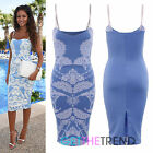 Womens Ladies Celeb Inspired Blue Baroque Paisley Strap Cocktail Party Dress