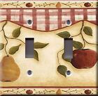 Light Switch Plate Cover - Country pear apple - Fruits tree foliage sand deco