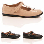 LADIES WOMENS FLAT DOLLY T-BAR BALLERINAS PUMPS CUT OUT SCHOOL WORK SHOES SIZES