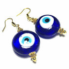 Blue Glass Evil Eye Earrings Vintage Style Gold Dangle Drop HOOKS CLIPS STUD