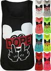 New Womens Dope Slogan Gesture Print Ladies Sleeveless Scoop Neck Vest Top 8-14