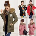 Thicken Fleece Faux Fur Warm Winter Coat Hood Parka Overcoat Long Jacket Womens